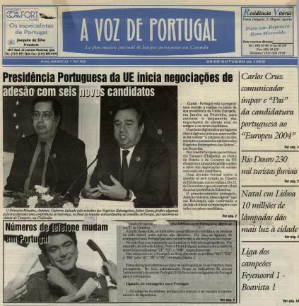 A VOZ DE PORTUGAL: 1999/10/20 Issue 40