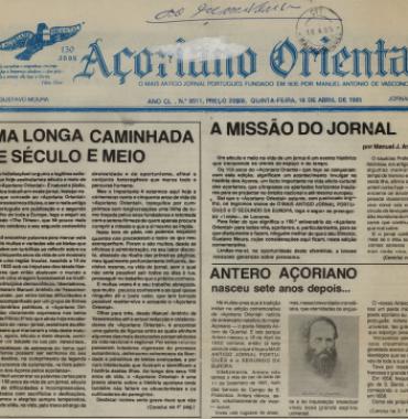 ACORIANO ORIENTAL: 1985/04/18 Issue 8511