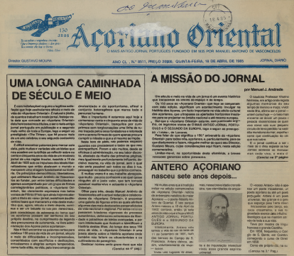 ACORIANO ORIENTAL: 1985/04/18 Issue 8511