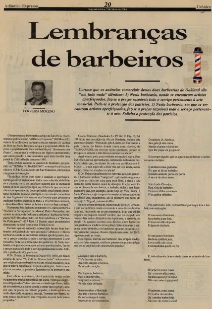 ATLANTICO EXPRESSO: Lembranças de barbeiros 2001/05/07