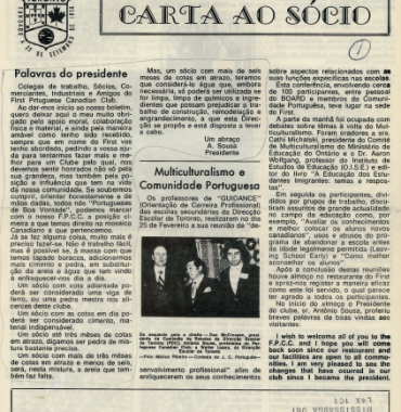 Carta ao Socio to Antonio Sousa