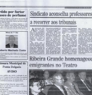 DIARIO DOS ACORES: Ribeira Grade Homenageou Emigrantes no Teatro 2003/07/19