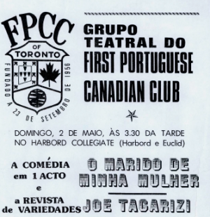 FIRST PORTUGUESE CANADIAN CLUB: Grupo Teatral Flyer