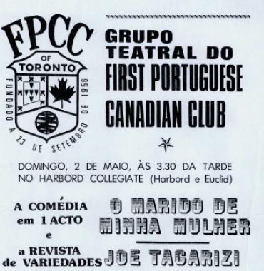 FIRST PORTUGUESE CANADIAN CLUB: Grupo Teatral Flyer