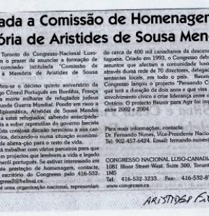 Formada a Comissao de Homenagem a Memoria de Aristides de Sousa Mendes