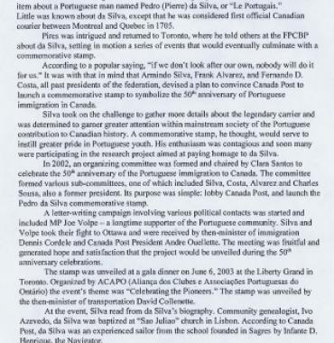 JOSE MARIO COELHO: Pedro da Silva Canada's First Official Letter Carrier