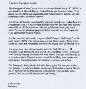 Letter from the Secretary of The Portuguese Club of Nova Scotia