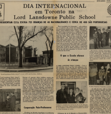 NOVO MUNDO: Dia Internacional em Toronto na Lord Lansdowne Public School  1971/03/30