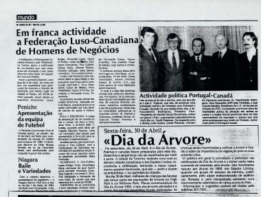 NOVO MUNDO: Em franca actividade Federação Luso-Canadiana de Homens de Negocios 1982/04/21