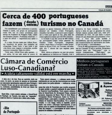 O MUNDO: Cerca de 400 portugueses fazem desde ontem turismo no Canada 1981/05/06