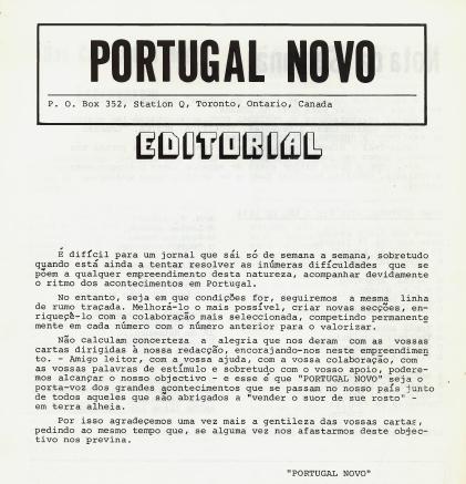 PORTUGAL NOVO: Editorial