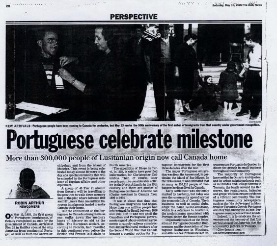 Portuguese Celebrate Milestone 2003/05/10