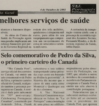 SOL PORTUGUES: Selo comemorativo de Pedro da Silva o primeiro carteiro do Canada 2002/10/04