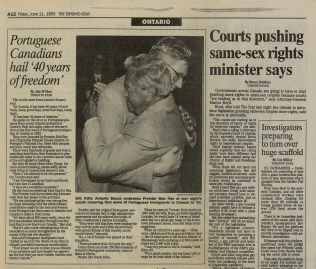 THE TORONTO STAR: Portuguese-Canadians hail 40 years of freedom 1993/06/11