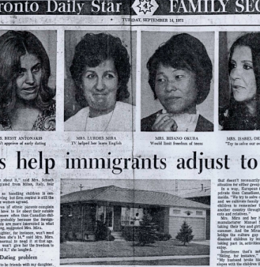 THE TORONTO STAR: Family ties help immigrants adjust to a new life 1971/09/14