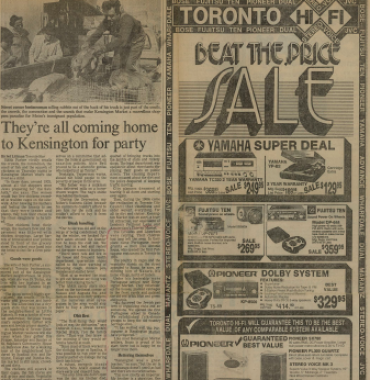 THE TORONTO STAR: They're all coming home to Kensington for party 1980/10/02