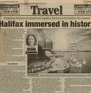 THE TORONTO SUN: Halifax Immersed in History 1999/05/05