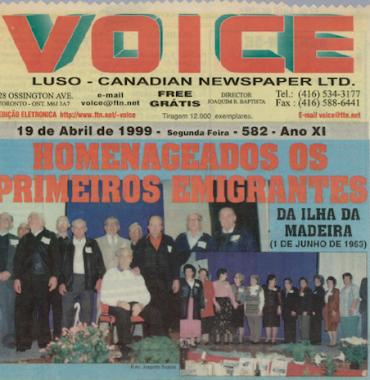 VOICE: Homenagem os Primeiros Emigrantes da Ilha da Madeira 1999/04/19