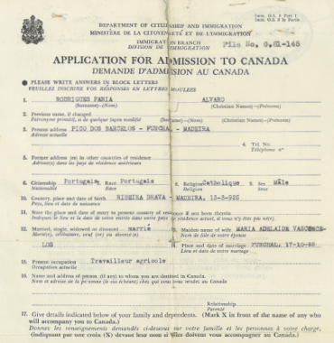 CANADA: Application for Admission to Canada—Alvaro Faria Rodrigues (1953)