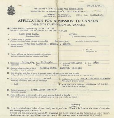 CANADA: Application for Admission to Canada—Alvaro Faria Rodrigues (1953)