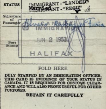CANADA: Immigration Identification Card—Alvaro Rodrigues de Faria (1953)