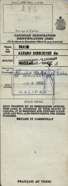 CANADA: Immigration Identification Card—Alvaro Rodrigues de Faria (1953)