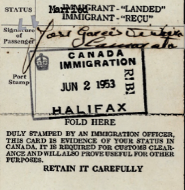 CANADA: Immigration Identification Card—José Garces Teixeira Camarata (1953)