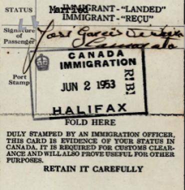 CANADA: Immigration Identification Card—José Garces Teixeira Camarata (1953)