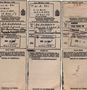 CANADA: Immigration Identification Card—Nobrega Family (1953)