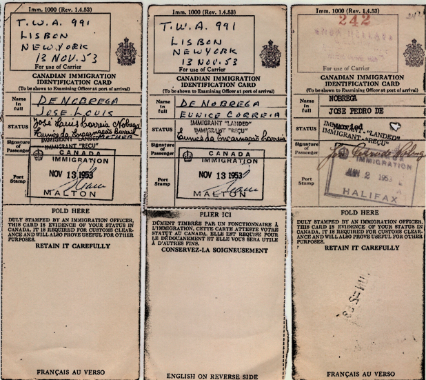 CANADA: Immigration Identification Card—Nobrega Family (1953)