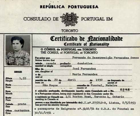 PORTUGAL: Certificate of Nationality—Fernanda da Ressurreição Fernandes Gomes (1966)