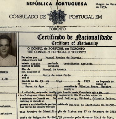 PORTUGAL: Certificate of Nationality—Manuel Firmino de Gouveia (1957)