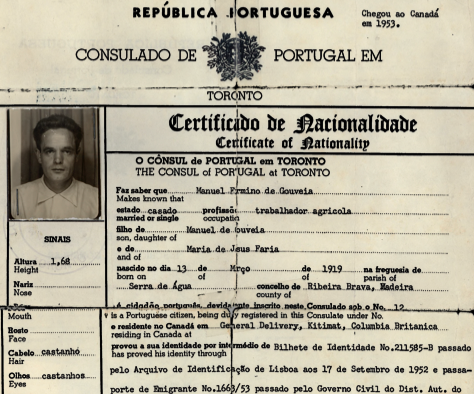 PORTUGAL: Certificate of Nationality—Manuel Firmino de Gouveia (1957)