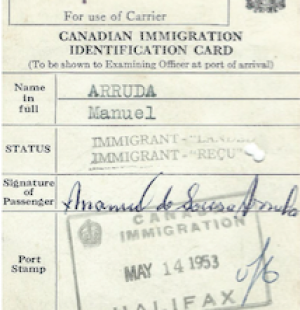 CANADA: Immigration Identification Card—Manuel Arruda (1953)