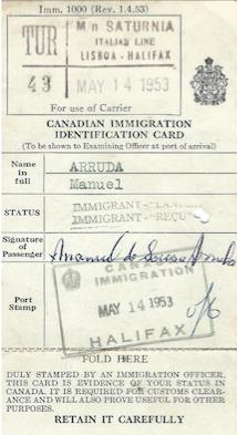 CANADA: Immigration Identification Card—Manuel Arruda (1953)