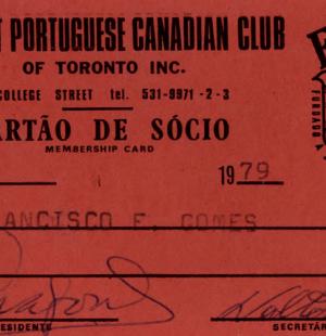 FPCC: Cartão de Sócio—Francisco E. Gomes (1979)