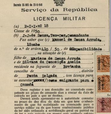 PORTUGAL: Licença Militar—Manuel de Sousa Arruda (1953)