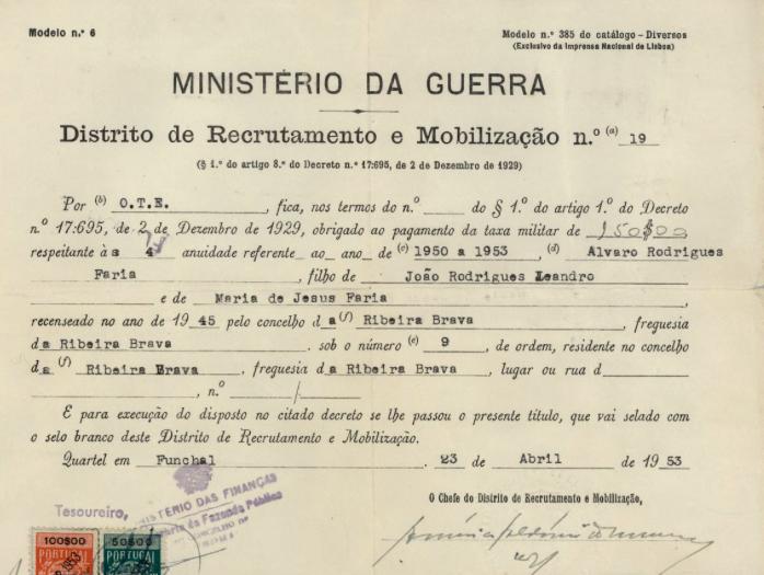 PORTUGAL: MinisterIo da Guerra—Alvaro Rodrigues Faria (1953)