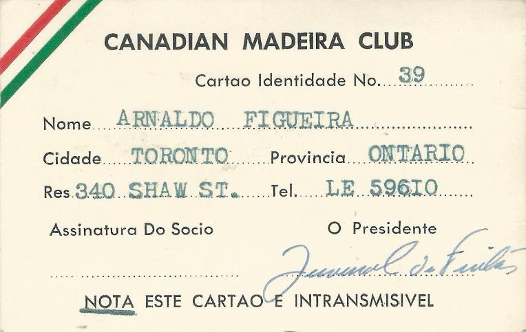 CANADIAN MADEIRA CLUB: Cartão de Sócio—Arnaldo Figueira