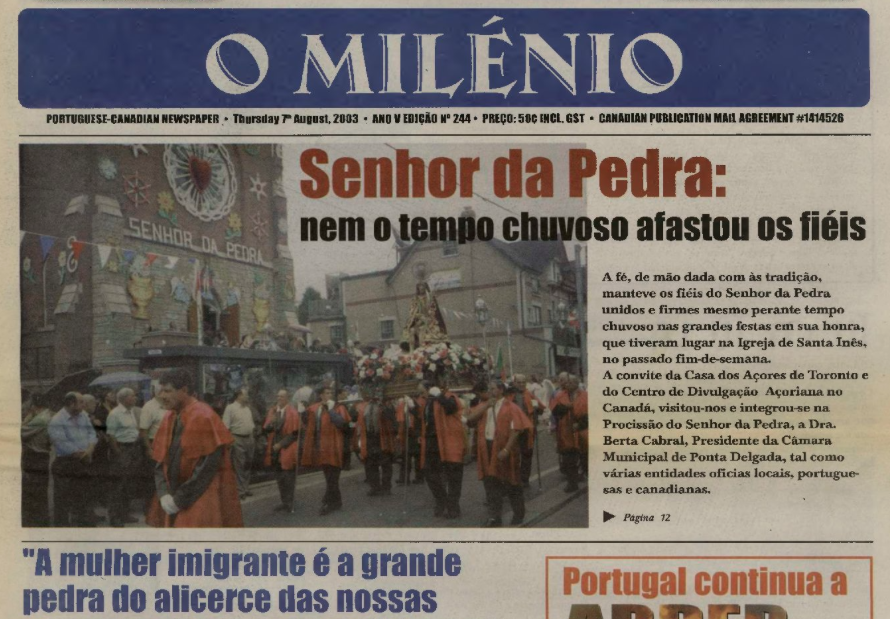 O MILENIO: 2003/08/07 Issue 244