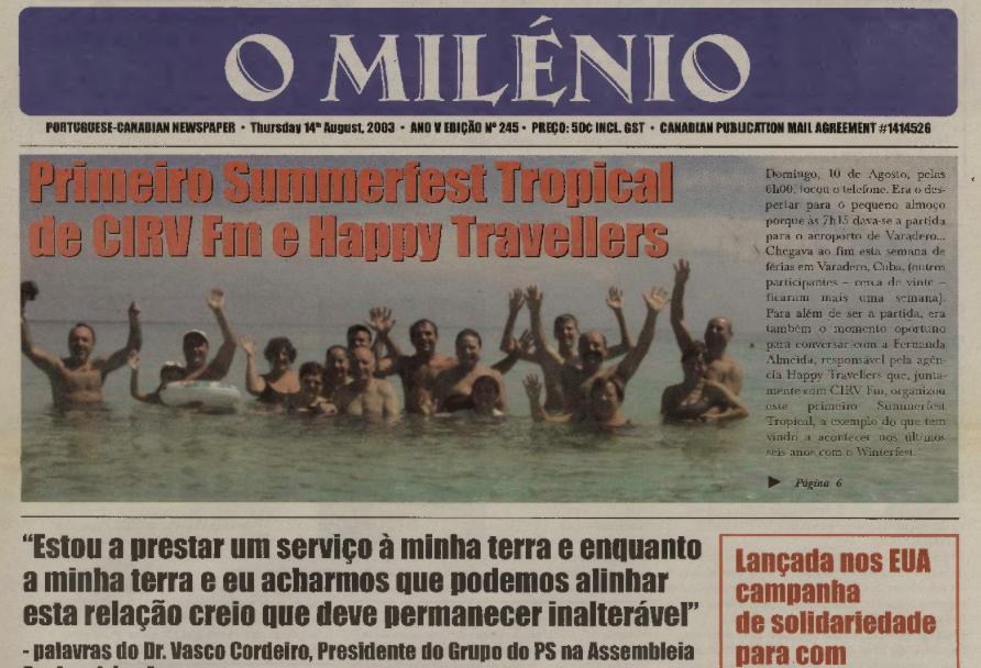 O MILENIO: 2003/08/14 Issue 245