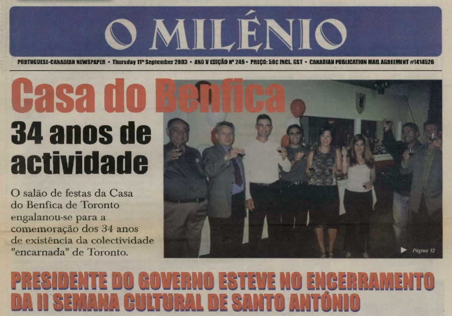 O MILENIO: 2003/09/11 Issue 249