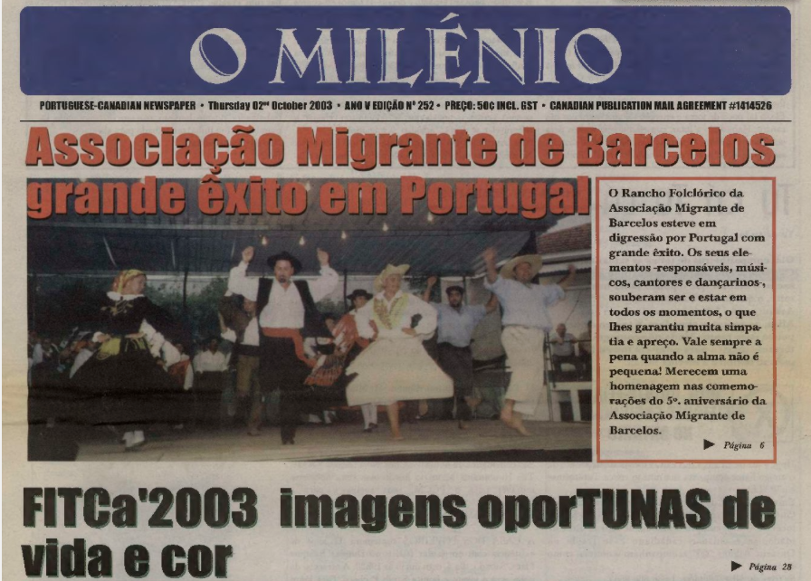 O MILENIO: 2003/10/02 Issue 252