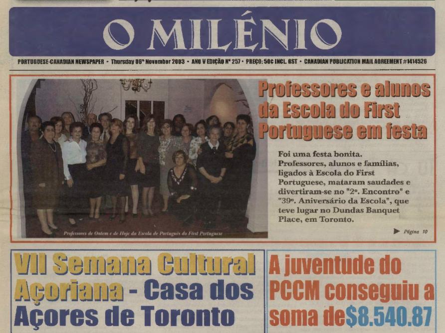 O MILENIO: 2003/11/06 Issue 257