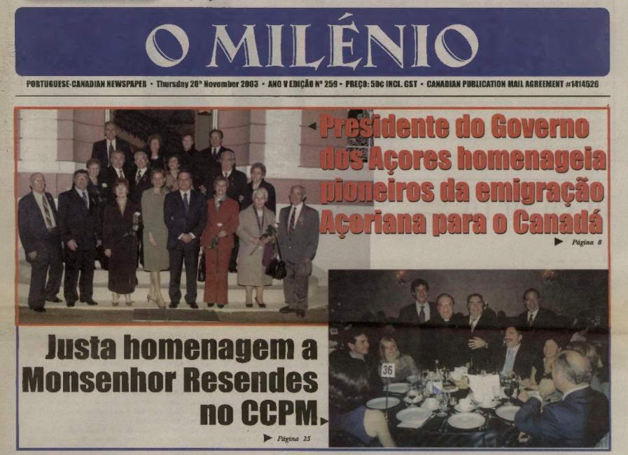O MILENIO: 2003/11/20 Issue 259