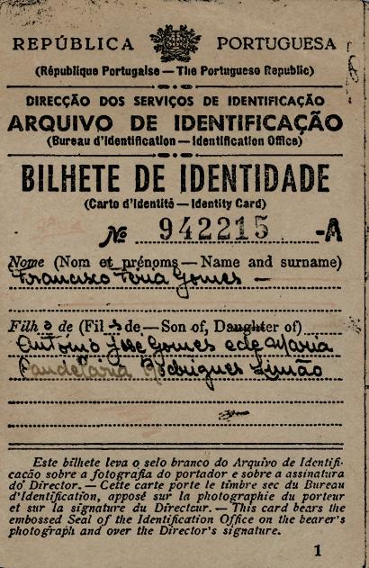 PORTUGAL: Bilhete de Identidade—Francisco Gomes
