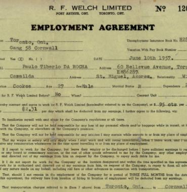 R. F. Welch Employment Agreement—Paulo Tiberio da Rocha (1957)