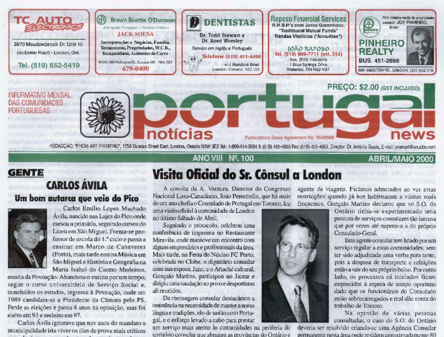PORTUGAL NEWS: Apr–May 2000 Issue 100