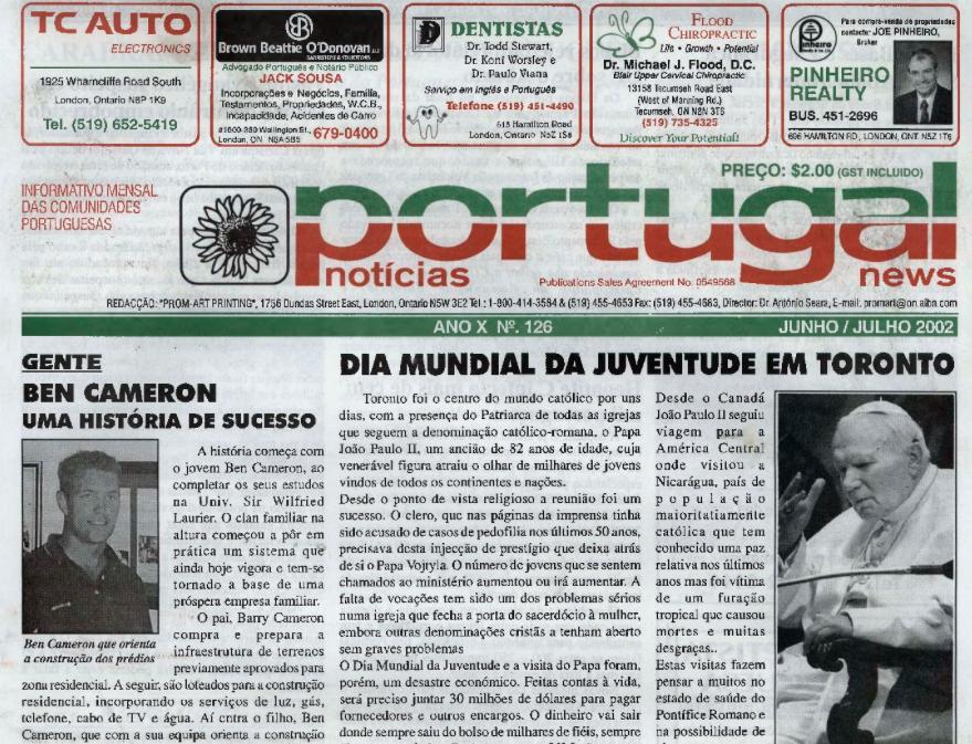 PORTUGAL NEWS: Jun–Jul 2002 Issue 126
