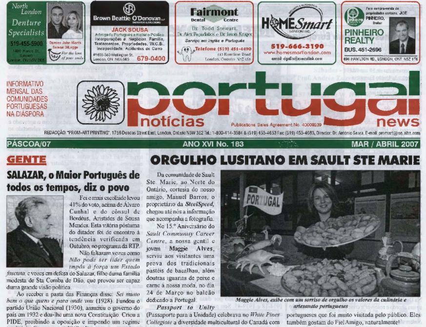 PORTUGAL NEWS: Mar–Apr 2007 Issue 183